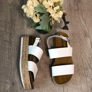 Soda white espadrille platform sandals